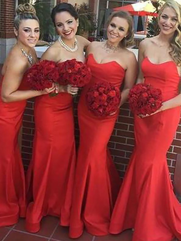 Mermaid Sweetheart Floor-Length Sleeveless Satin Bridesmaid Dresses