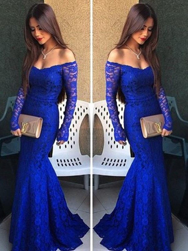 Trumpet/Mermaid Off-the-Shoulder Long Sleeves Lace Floor-Length Dresses
