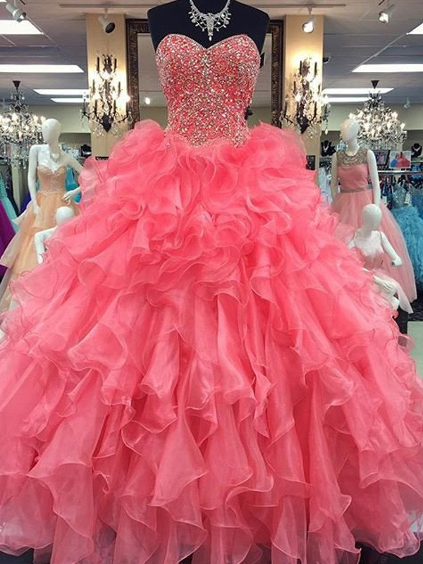 Ball Gown Sweetheart Sleeveless Floor-Length Beading Organza Dresses