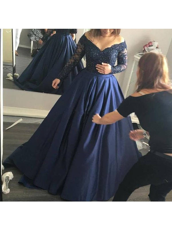 Ball Gown Off-the-Shoulder Long Sleeves Beading Satin Sweep/Brush Train Dresses