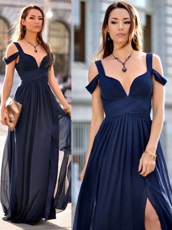 A-Line/Princess Sleeveless Straps Floor-Length Chiffon Bridesmaid Dresses
