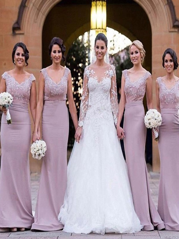 Trumpet/Mermaid Sleeveless V-neck Satin Floor-Length Bridesmaid Dresses
