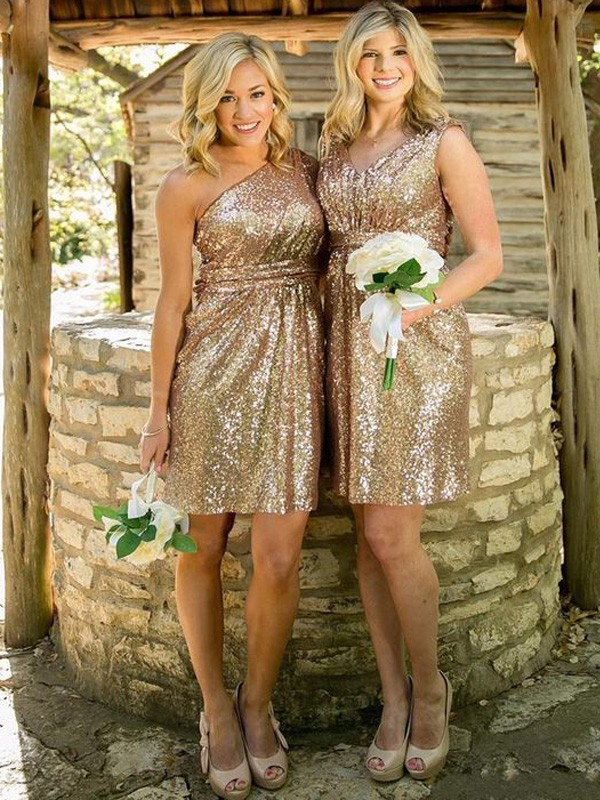 Sheath/Column Sleeveless Sequins Short/Mini Bridesmaid Dresses