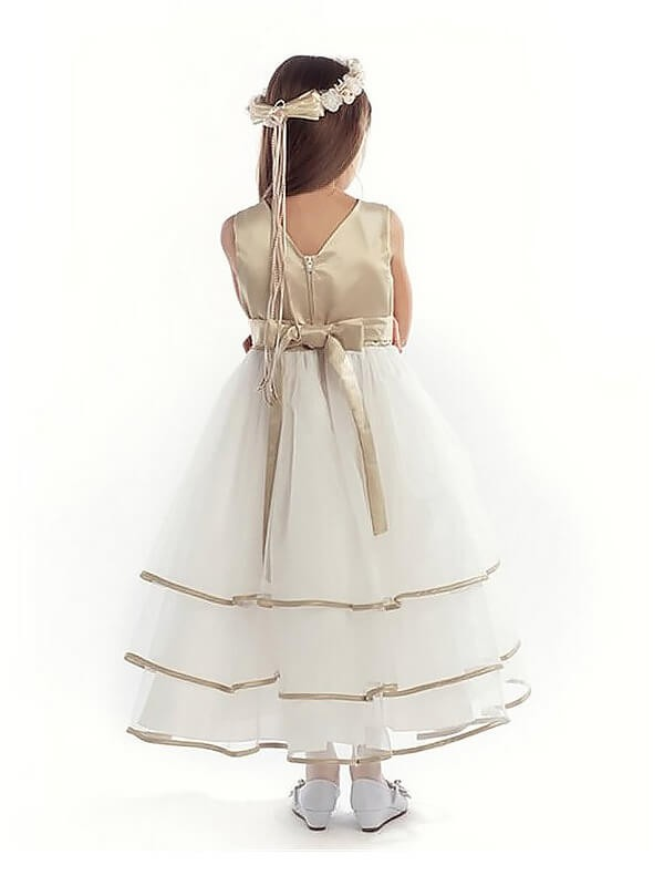 A-Line V-neck Sleeveless Tulle Ankle-length Flower Girl Dress