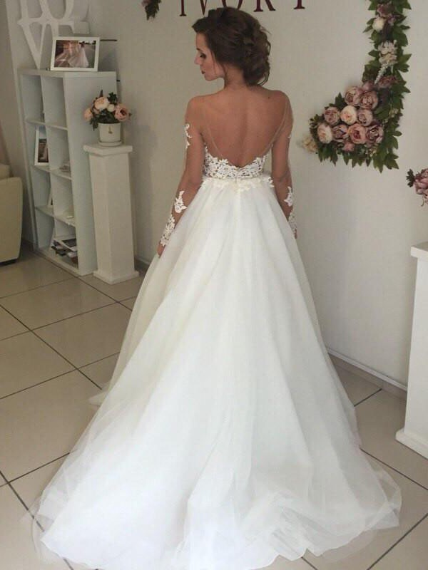A-Line Organza Off-the-Shoulder Sweep/Brush Train Long Sleeves Wedding Dresses