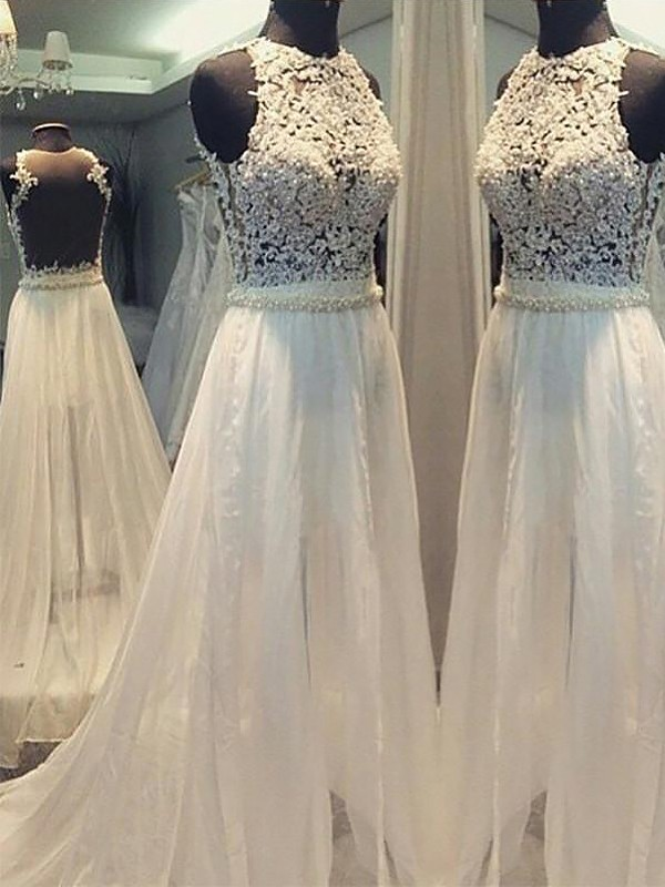 A-Line Sweep/Brush Train Chiffon Scoop Sleeveless Wedding Dresses