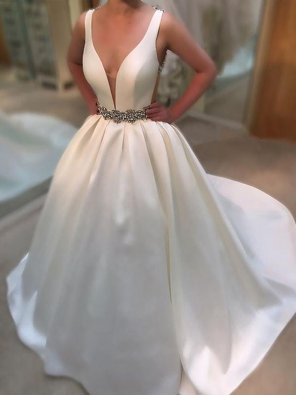 A-Line Court Train Satin V-neck Sleeveless Wedding Dresses