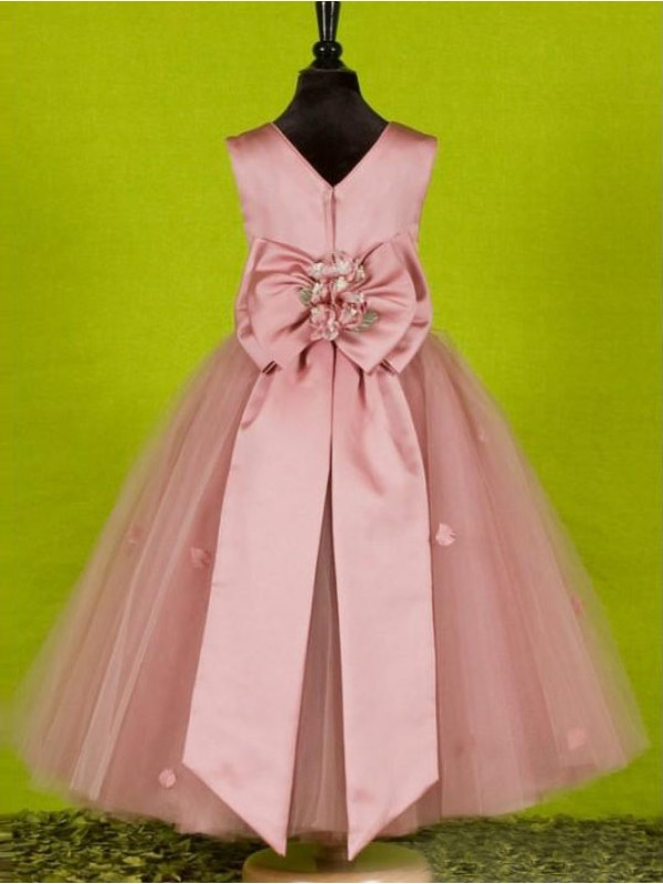 A-line Scoop Sleeveless Bowknot Ankle-length Tulle Flower Girl Dress