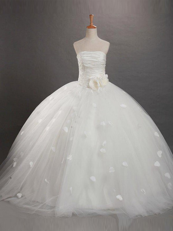 Ball Gown Strapless Ruffles Sleeveless Floor-length Tulle Flower Girl Dress