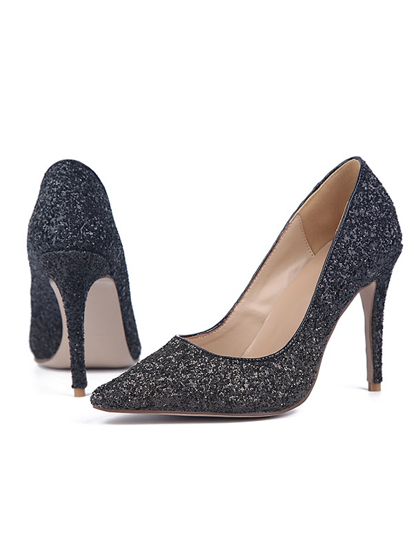 Women's Sparkling Glitter Stiletto Heel Closed Toe High Heels
