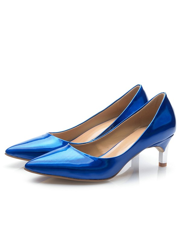 Women's Royal Blue Patent Leather Closed Toe Cone Heel High Heels