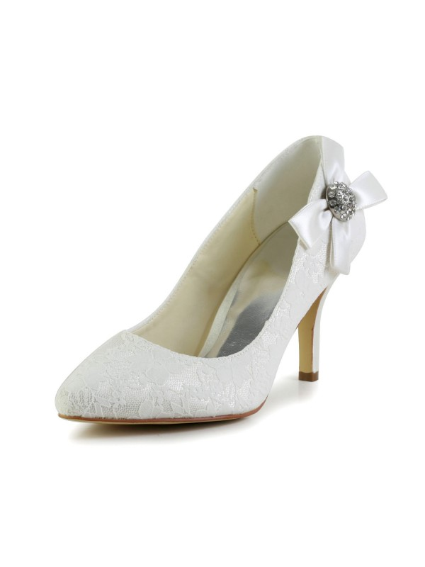 Women's Satin Stiletto Heel Closed Toe Pumps White Wedding Shoes With Rhinestone