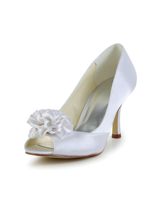 Women's Satin Stiletto Heel Peep Toe White Wedding Shoes With Flower