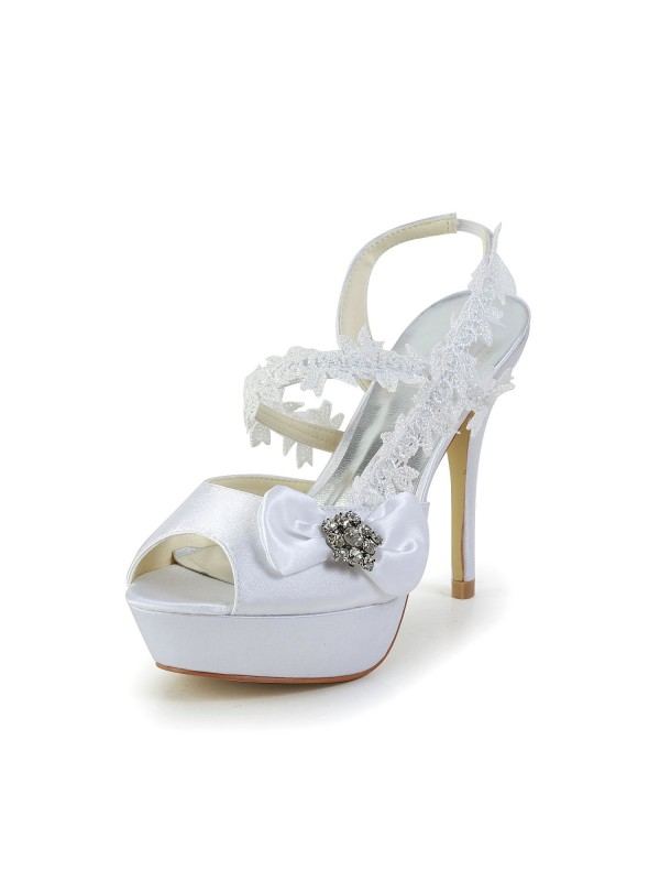 Women's Satin Peep Toe Stiletto Heel White Shoes With Wedding Bowknot