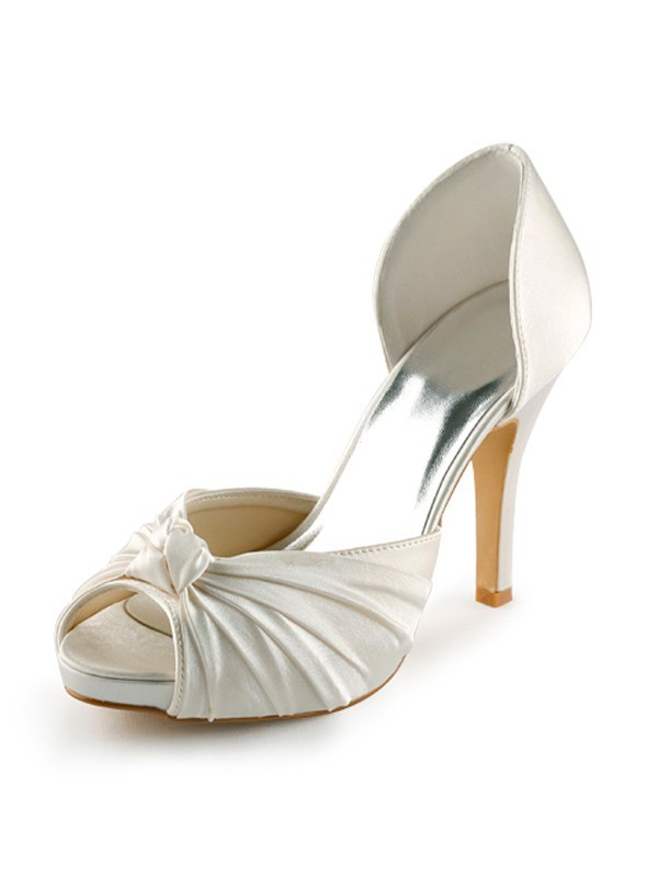 Women's Satin Stiletto Heel Peep Toe Platform Pumps White Wedding Shoes With Bowknot