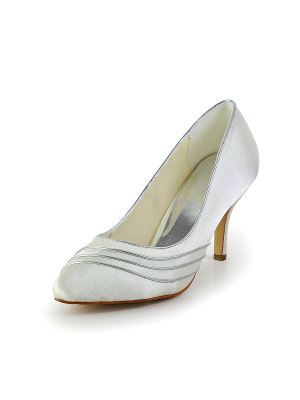 Women's Simple Satin Stiletto Heel Pumps White Wedding Shoes