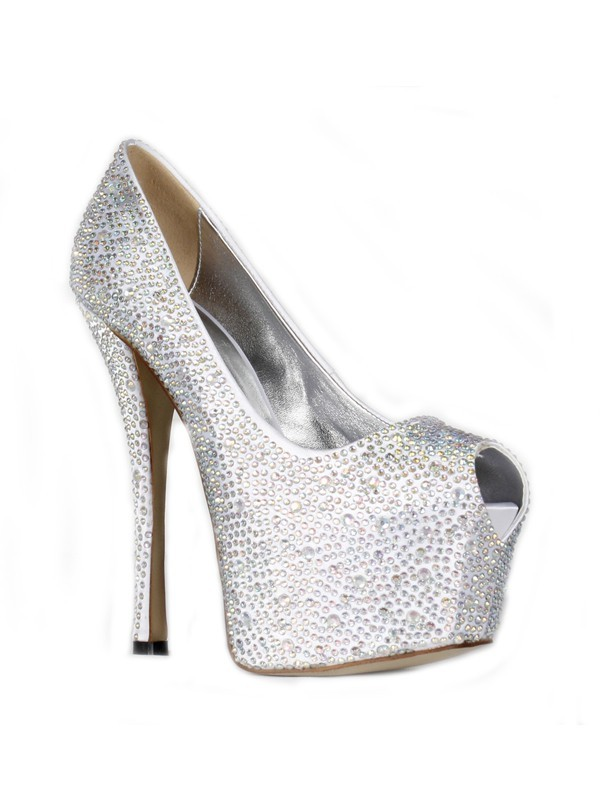 Women's Satin Stiletto Heel Peep Toe Platform With Rhinestone High Heels