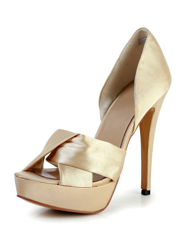 Women's Stiletto Heel Silk Peep Toe Platform Gold Wedding Shoes