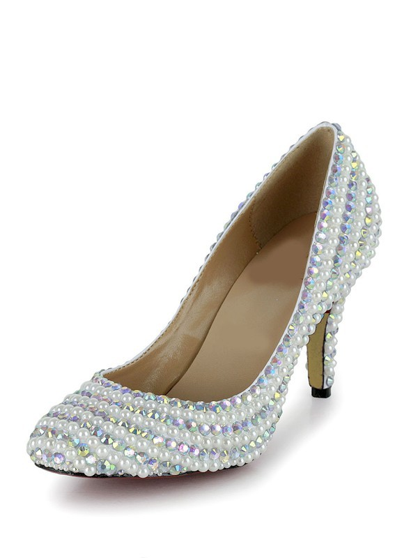 Women's Stiletto Heel Closed Toe Patent Leather With Rhinestone Multi Colors Wedding Shoes