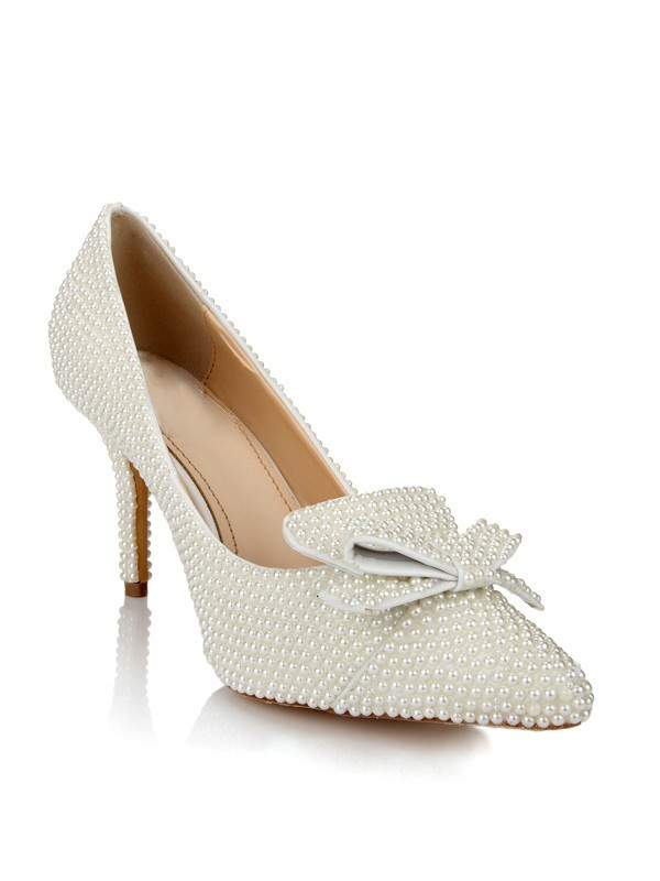 Women's Patent Leather Stiletto Heel Closed Toe With Pearl Bowknot White Wedding Shoes