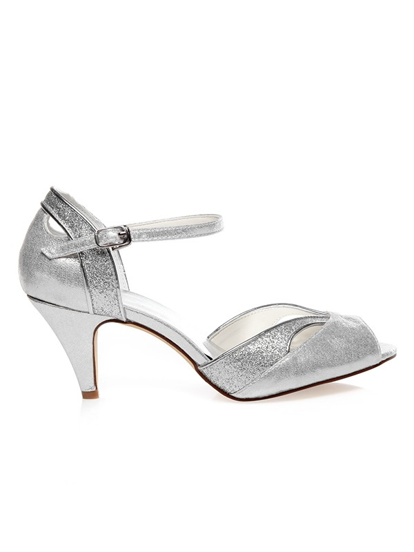 Women's PU Peep Toe Buckle Cone Heel Wedding Shoes