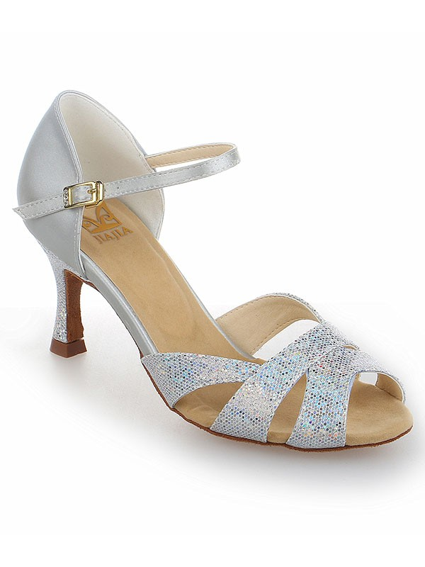 Women's Satin Stiletto Heel Peep Toe With Sparkling Glitter Dance Shoes