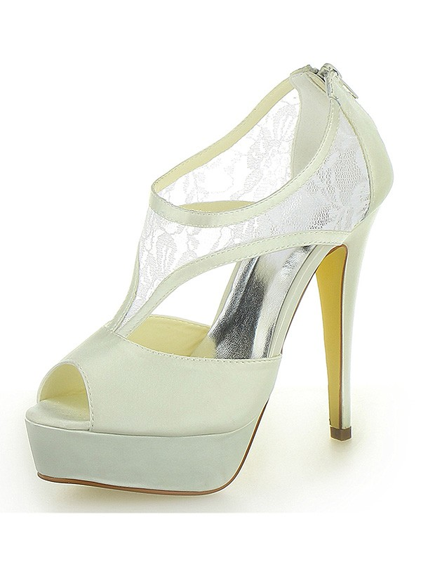 Women's Stiletto Heel Satin Platform Peep Toe With Zipper Ivory Wedding Shoes