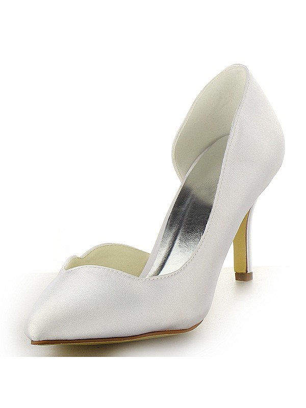Women's Satin Closed Toe Stiletto Heel White Wedding Shoes
