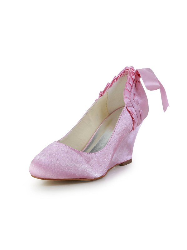 Women's Unique Satin Wedge Heel Closed Toe Pink Wedding Shoes