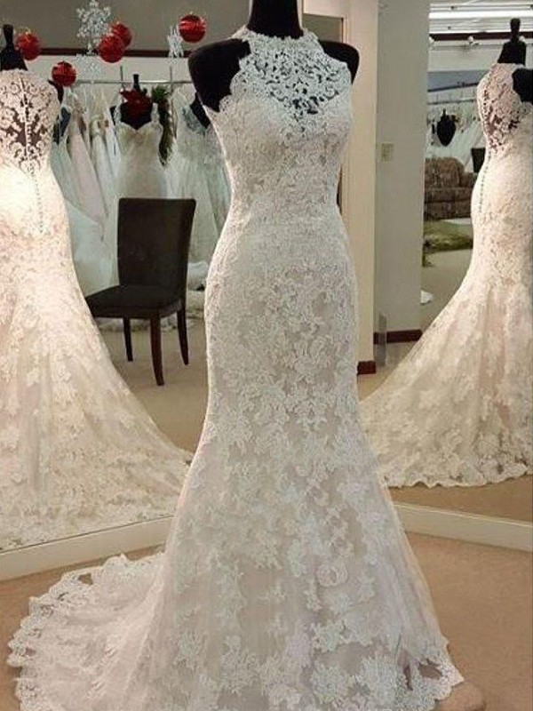 Sheath Sleeveless Scoop Sweep/Brush Train Lace Wedding Dress
