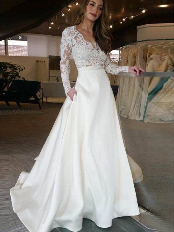 A-Line Long Sleeves Sweep/Brush Train V-neck Satin Wedding Dress