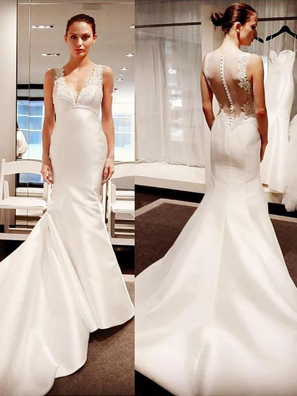 Mermaid V-neck Satin Sleeveless Court Train Wedding Dress