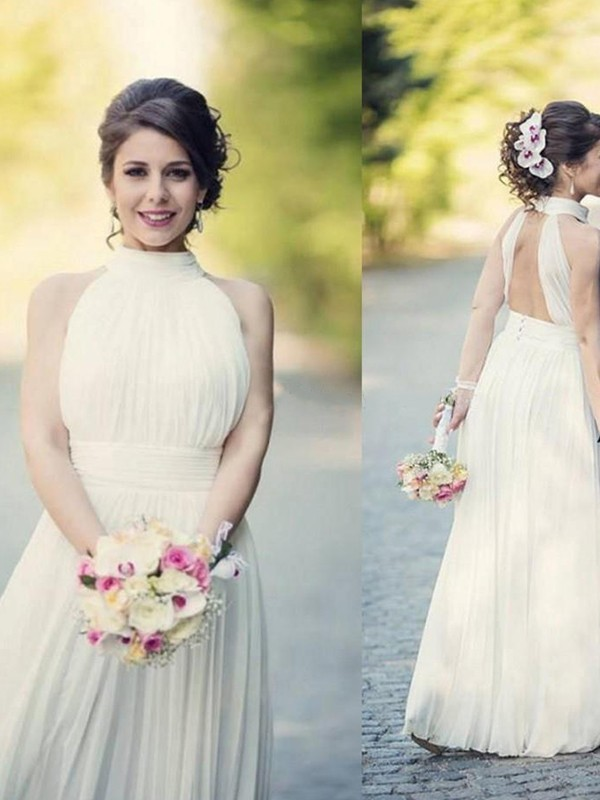 A-Line Halter Sleeveless Tulle Floor-Length Wedding Dress