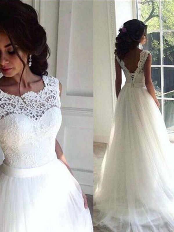 A-Line Lace Tulle Bateau Sleeveless Sweep/Brush Train Wedding Dress