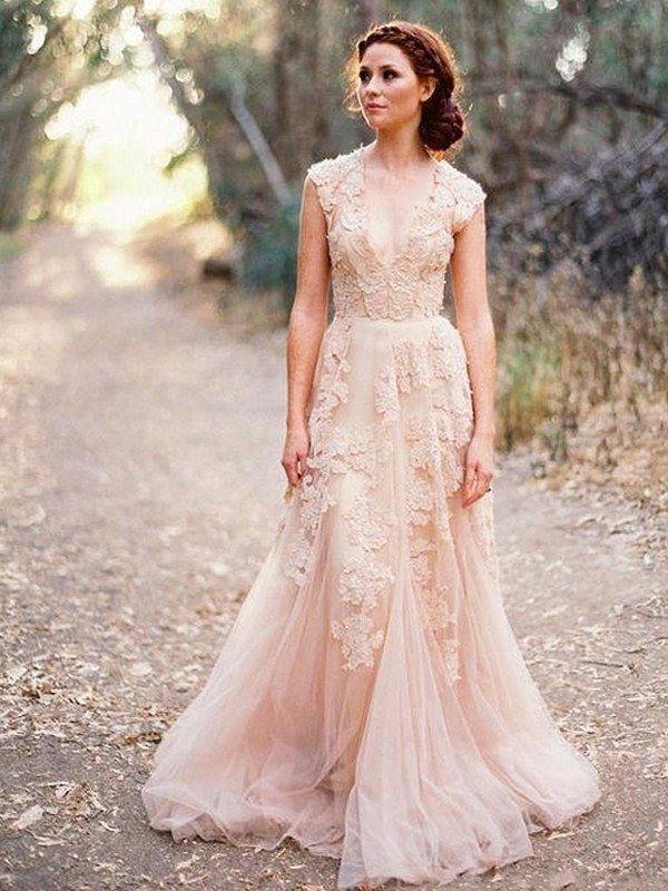 A-Line Tulle V-neck Sleeveless Sweep/Brush Train Wedding Dress