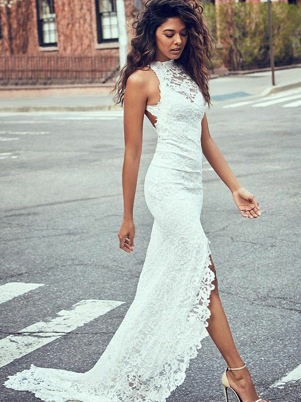 Mermaid Lace Halter Sleeveless Sweep/Brush Train Wedding Dress