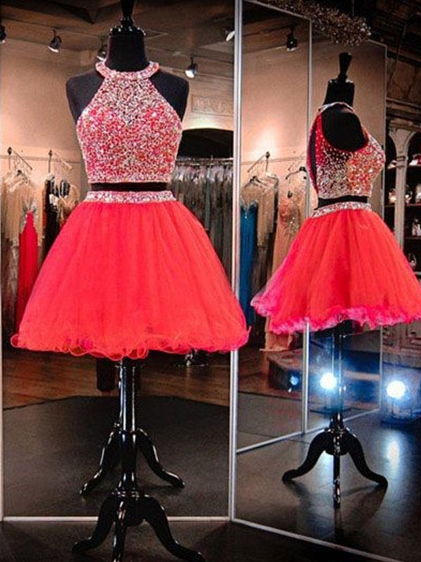 A-Line Halter Tulle Short Two Piece Dress