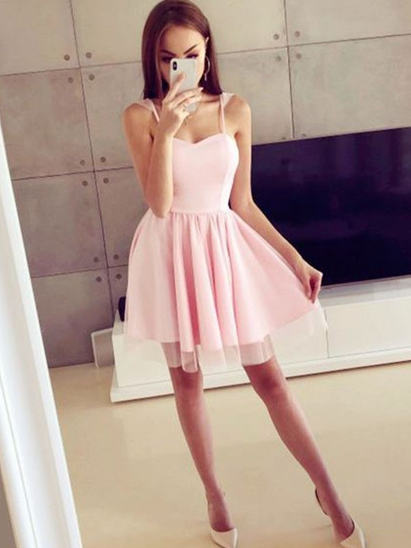 A-Line Satin Spaghetti Straps Sleeveless Short Dress