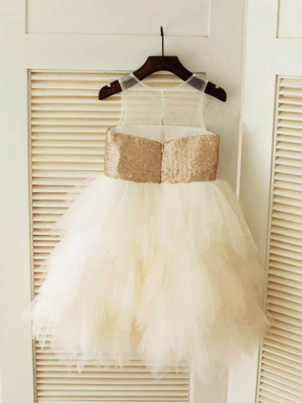 Ball Gown Scoop Tea-length Tulle Flower Girl Dress