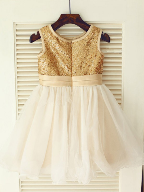 A-line Scoop Knee-Length Organza Flower Girl Dress