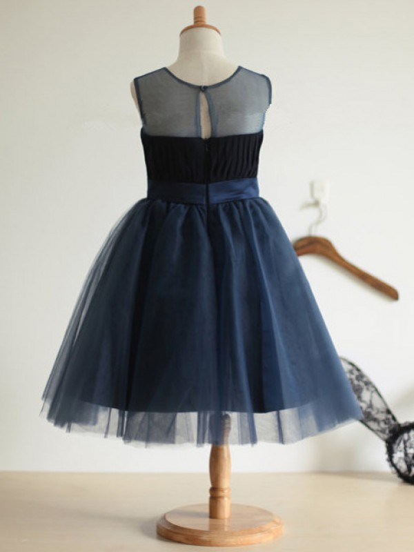 Ball Gown Jewel Tulle Tea-length Flower Girl Dress