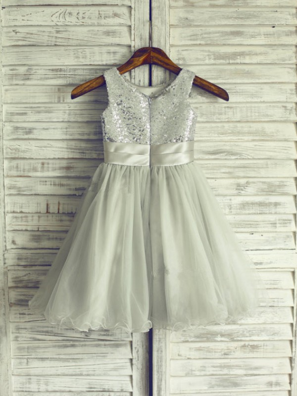 A-line Scoop Tea-length Net Flower Girl Dress
