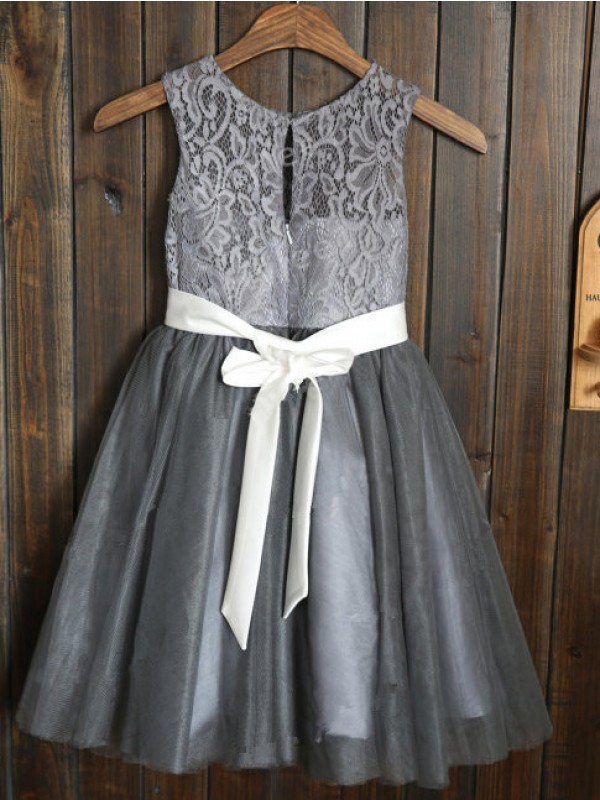 A-line Scoop Tulle Tea-length Flower Girl Dress