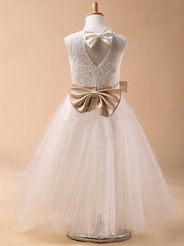 Ball Gown Jewel Tulle Flower Girl Dress